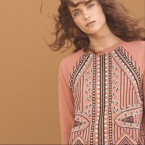 Akemi + Kin Coral Embroidered Crew Neck Sweater